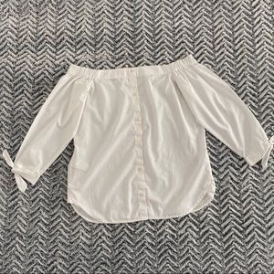 Banana Republic Off Shoulder Button Down Blouse